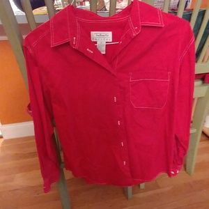 Red Talbots petite blouse size small